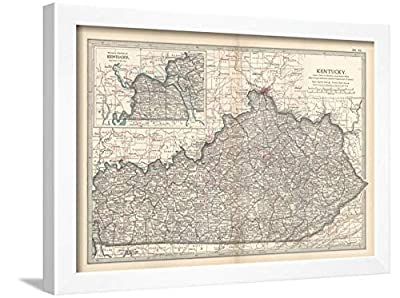 ArtEdge Plate 82. Map of Kentucky. United States Wall Art Framed Print, 18x24, White Unmatted