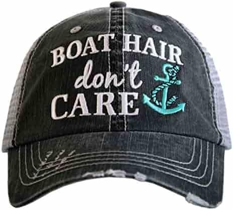 Katydid Boat Hair Don t Care Women s Distressed Grey Trucker Hat e8c26fc11bf2