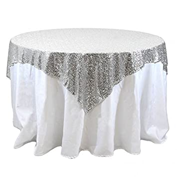 Attrayant DUOBAO 50x50 Inch Sequin RECTANGULAR Tablecloth Silver Glitz Sequin Table  Overlay For Wedding