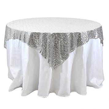 Attrayant DUOBAO 50x50 Inch Sequin RECTANGULAR Tablecloth Silver Glitz Sequin Table  Overlay For Wedding