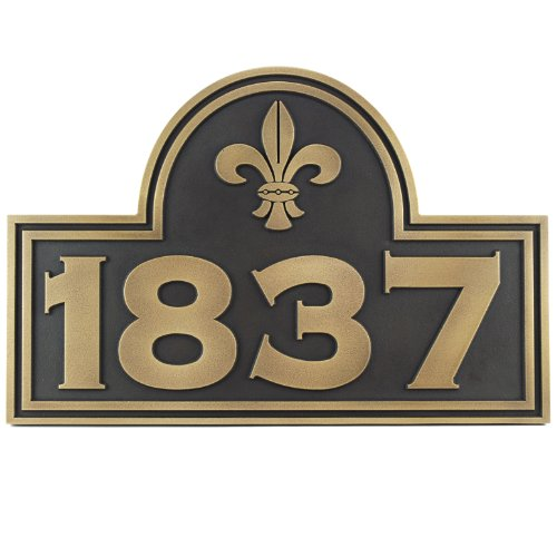 Fleur De Lis Arch Address Plaque - 15x10 - Raised Brass Metal Coated Sign by Atlas Signs and Plaques