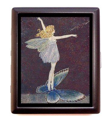 Art Nouveau Fairies (Art Nouveau Fairy Girl Riding Butterfly Business Card Id Wallet Cigarette Case)