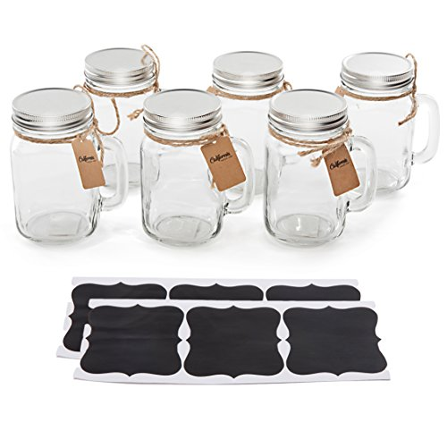 6 Pack - Vintage Mason Jar Mugs with