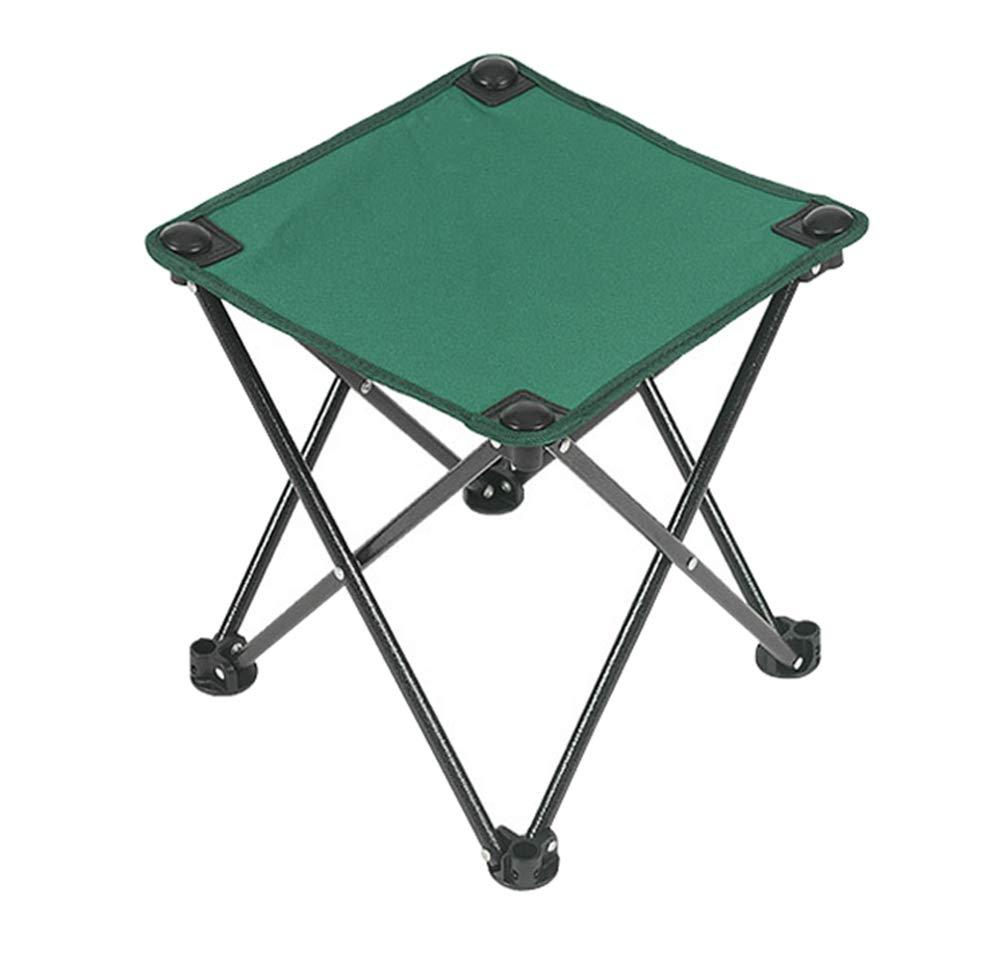 YANGYA Camping Folding Stool Portable Iron Frame Fold Up Anti-Tear Oxford Anti-Slip Feet Outdoor Stool Chair for Camping Fishing Hunting Picnic Travel-Green