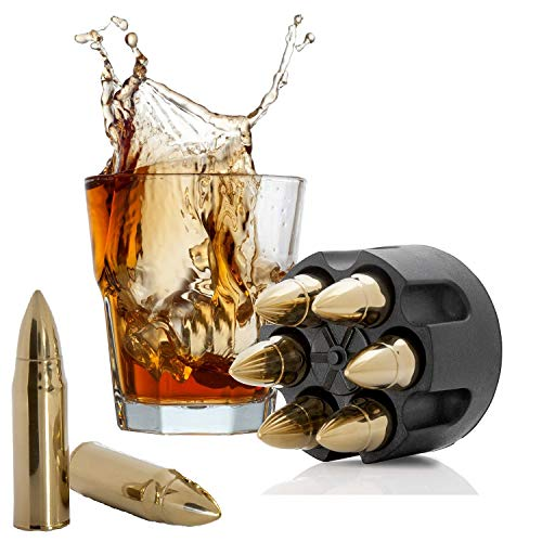 Bullet Whiskey Stones Gold with Base Extra Large Whiskey Ice Cubes Reusable - Cool Gifts for Men - Set of 6 Bullet Ice Stones Stainless Steel in Revolver Base - Chilling Whiskey Rocks Gift Set Koozam ()