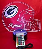 Green Bay Packers NFL Licensed Logo on Beautiful Acrylic LED Lamp Football Light Up Table Lamp Personalize, Our Newest Feature It's WOW, With Remote, 16 Color Options, Dimmer, Free Engraved Great Gift