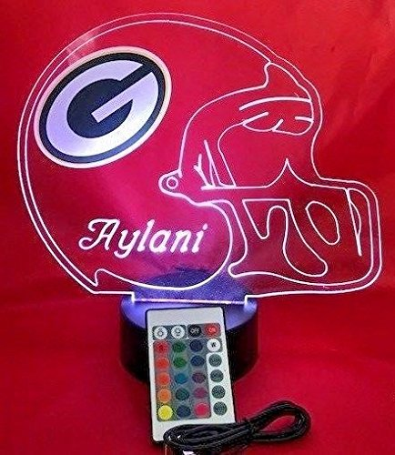 (Green Bay Packers NFL Licensed Logo on Beautiful Acrylic LED Lamp Football Light Up Table Lamp Personalize, Our Newest Feature It's WOW, With Remote, 16 Color Options, Dimmer, Free Engraved Great Gift)