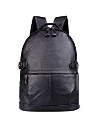 AB Earth Women Genuine Cow Leather Daily Casual Backpack Handbag, M752 (Black)