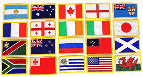 "Rugby World Cup 2019 Flag Patch Set - Set of 20 Embroidered Flag Patches 3.50"" x 2.25"", One Flag Patch for Each Team Competing for The Cup; Iron On or Sew On Flag Patch Emblem"