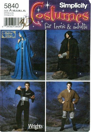 Simplicity Sewing Pattern 5840, Misses', Men's, Teens' Renaissance Robe / Tunic / Star Wars