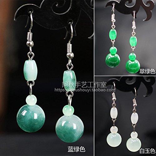 Custom hand-classical pearl earrings jade earrings cheongsam Han clothing accessories interchangeable earrings sterling silver ear ()