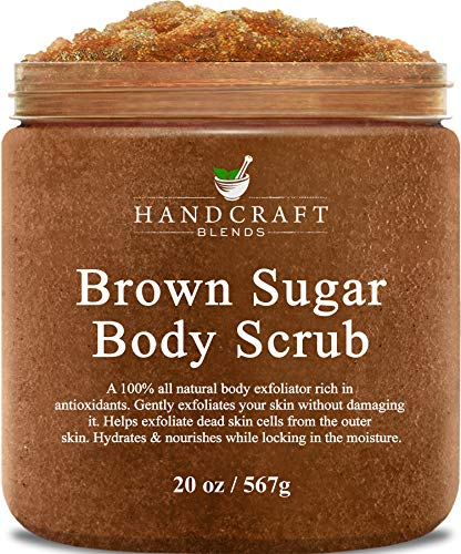 Handcraft Brown Sugar Body Scrub - All Natural - Made with Real Brown Sugar Crystals - for Cellulite, Stretch Marks, and Varicose Vein - 20 oz