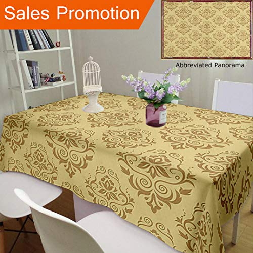 Antique Islamic (Unique Design Cotton And Linen Blend Tablecloth Beige Decor Regular Damask Patterns Islamic Antique Lace Floral Patterns Oriental Style DecoratCustom Tablecovers For Rectangle Tables, 78 x 54 Inches)
