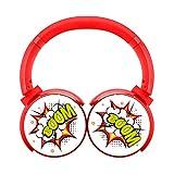 Yi6Xu Boom Wireless Bluetooth Headphones Over Ear Stereo Fold Earphone Red