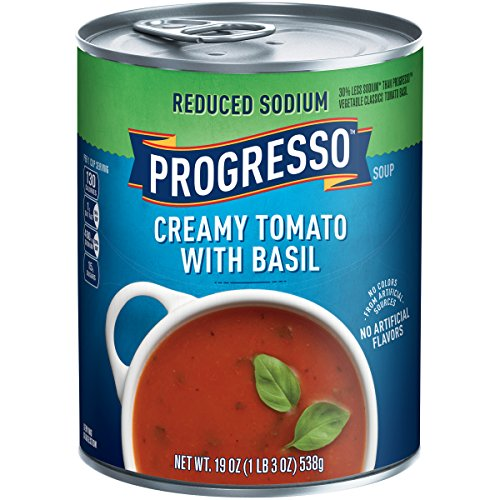 Progresso Soup, Reduced Sodium, Creamy Tomato Basil Soup, 19 oz Can