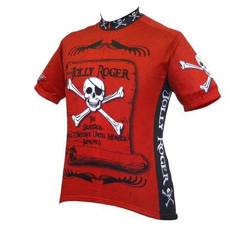World Jerseys Men's Jolly Roger Pirate Cycling Jersey Jolly Roger Pirate Rust Large [並行輸入品]   B07HLKQBNG