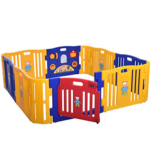 Cheap LAZYMOON Baby Playpen Kids 8+4 Panel Safety Play Center Yard Home Indoor Outdoor Fence