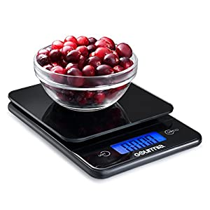 Gourmia GKS9115 Digital Kitchen Scale Tempered Glass Food Scale with Easy-Read Extra Large LCD Touchscreen Display & Tare Function 5kg [11lb] Capacity
