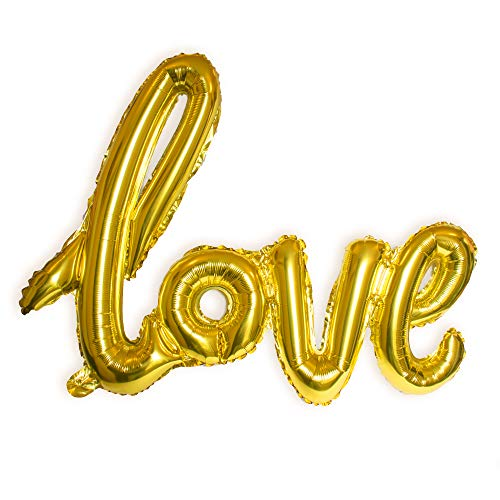 Love Balloon Champagne Gold Letter Banner Writing Script Handwriting Decorations Valentines Wedding Romantic Gifts Balloon Anniversary Decor, Bridal Shower or Birthday Marry Party Christmas Day