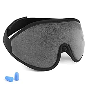 3D Sleep Mask Eye Cover for Woman and Man, 100% Blackout Lightweight and Comfortable Night Eye Mask for Sleeping, Super Soft, Adjustable, Night Blindfold Eyeshade for Travel, Shift Work, Naps (Grey)