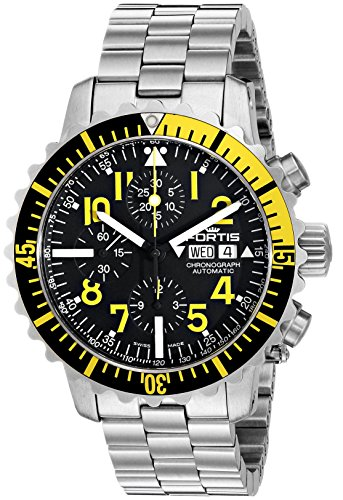Fortis Men's 671.24.14 M B-42 Marinemaster Chronograph Yellow Analog Display Automatic Self Wind Silver Watch
