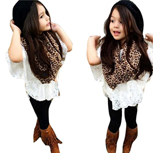 FEITONG 1Set Infant Toddler Baby Girls' Vest+ Lace Bat Shirt+Long Pants+Leopard Scarf
