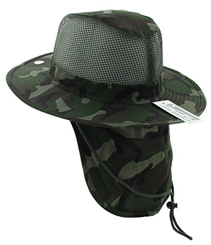 JFH GROUP Wide Brim Men Safari/Outback Summer Hat with Neck Flap (Medium, Dark Green Camouflage)