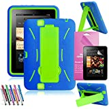 EpicGadget(TM) For Amazon Kindle Fire HD 7 [2012 Released] Case Dark Blue and Green Shockproof Heavy Duty Rugged Impact Hybrid Case with Build In I Kickstand Protective Cover With Kindle Fire HD 7 2012 Clear Screen Protector And Universal Long Touch Stylus Pen (US Seller!!) (I Stand Navy Blue Green)