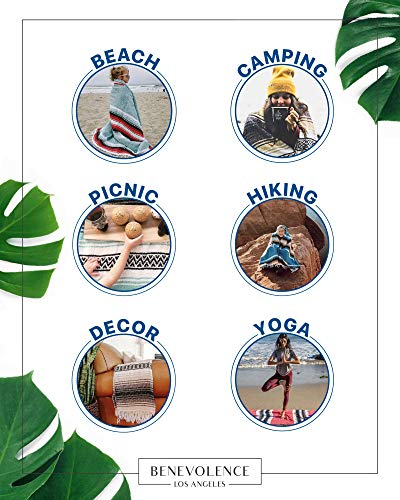 Mexican Blanket, Falsa Blanket | Authentic Hand Woven Blanket, Serape, Yoga Blanket | Perfect Beach Blanket, Navajo Blanket, Camping Blanket, Picnic Blanket, Saddle Blanket, Car Blanket (Azure)
