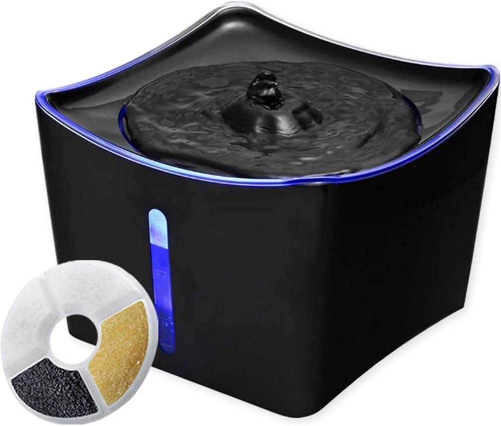 Innotic - Fuente de agua para mascotas con luz LED para gatos y perros, diseño 2020   Dispensador de agua automático silencioso 3L con bomba de puerto USB y 1 filtro de