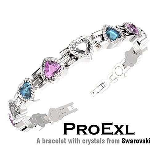 ProExl Swarovski Love Heart Crystal Womens Magnetic Bracelet Multi Color Crystals with Gift (Goldstone Magnetic Bracelets)