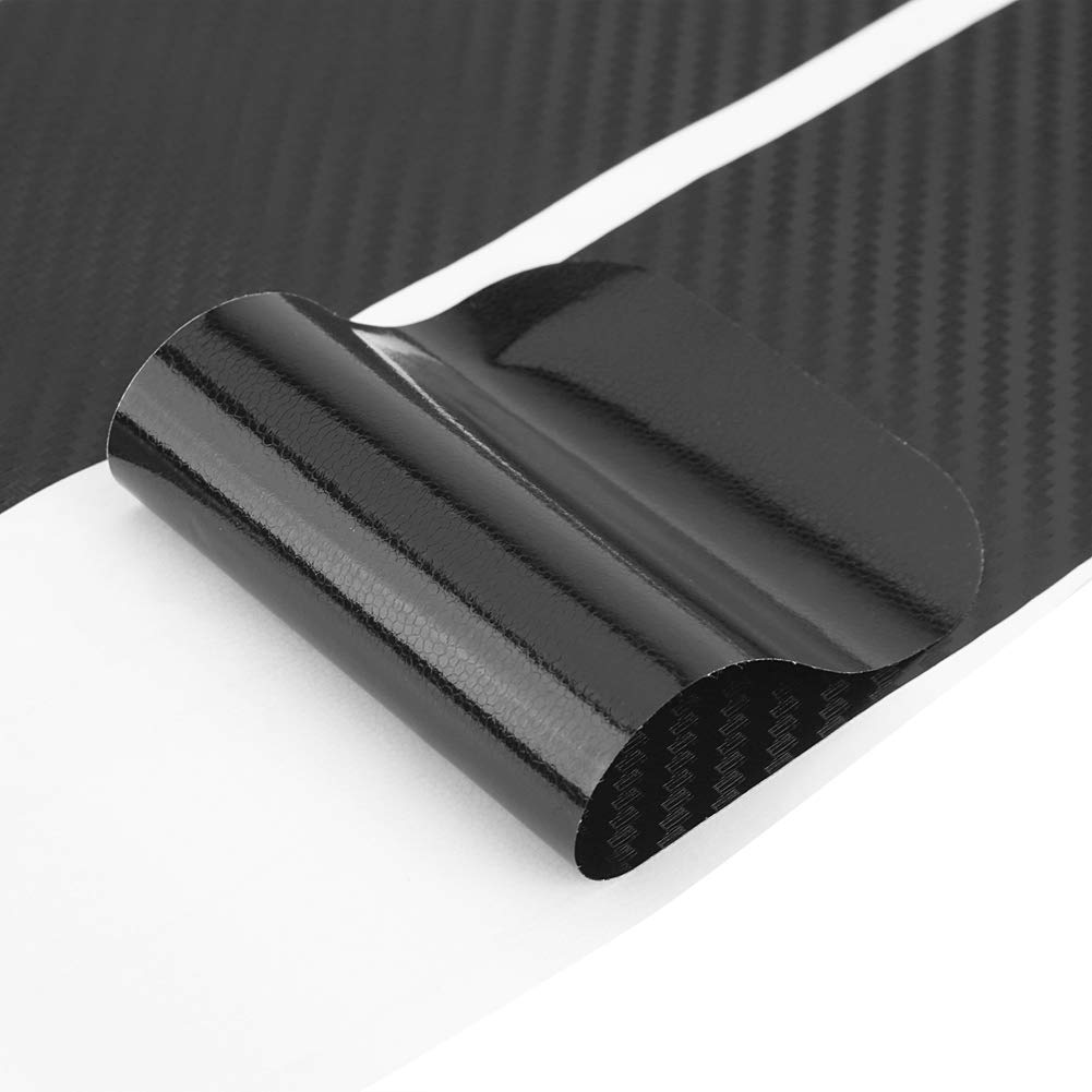 Cuque 4 Pcs Universal Premium Carbon Fiber PVC Material Anti Scratch Car Door Sill Sticker Scuff Plate Cover Panel Step Protector with Scraper for Hassle Free Installation