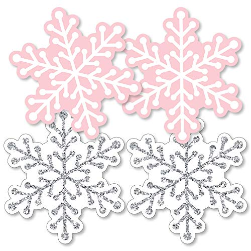 Pink Winter Wonderland - Snowflake Decorations DIY Holiday Snowflake Birthday Party or Baby Shower Essentials - Set of 20 -