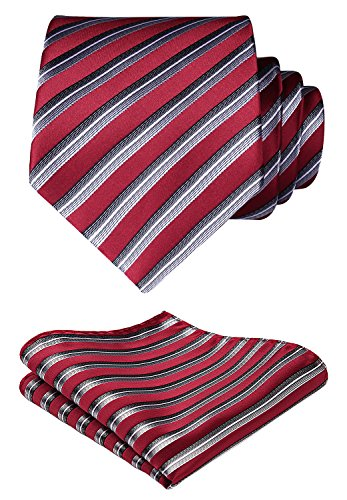 HISDERN Plaid Tie Handkerchief Woven Classic Stripe Men's Necktie & Pocket Square Set (Red & Silver)