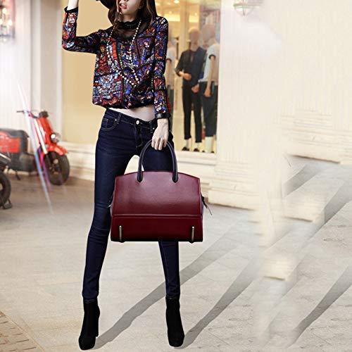 Mano Tracolla Zhi Donna Red Con Vintage Pelle Vera Da Borsa A Wu In Borse Tote Ladise t7wCq6