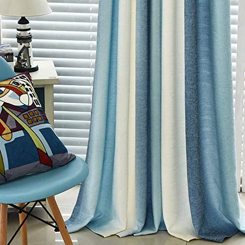 Blue Cotton Linen High Shading Cloth Curtains Grommet Top Room Darkening Blinds Upright Stripe Printed Semi Blackout Bedroom Thickened Light Shading Drapers W52 x L84 inch 1 Pair 2 Panels ZZCZZC