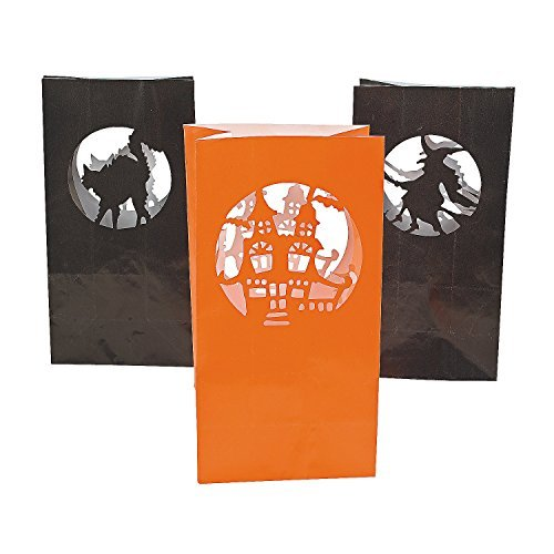 Fun Express Paper Halloween Silhouette Luminary Bags - 12 (Gangster Girl 3 Piece Costumes)