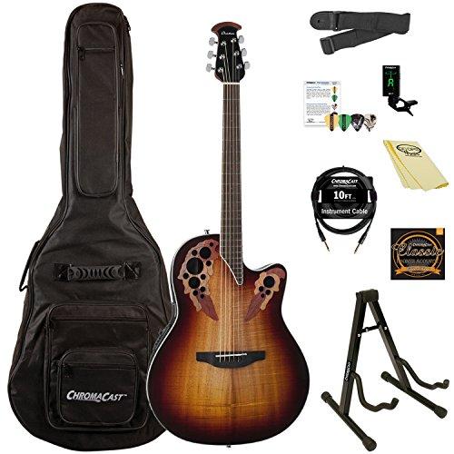 ovation celebrity elite plus figured koa top acoustic electric guitar kit with chromacast. Black Bedroom Furniture Sets. Home Design Ideas
