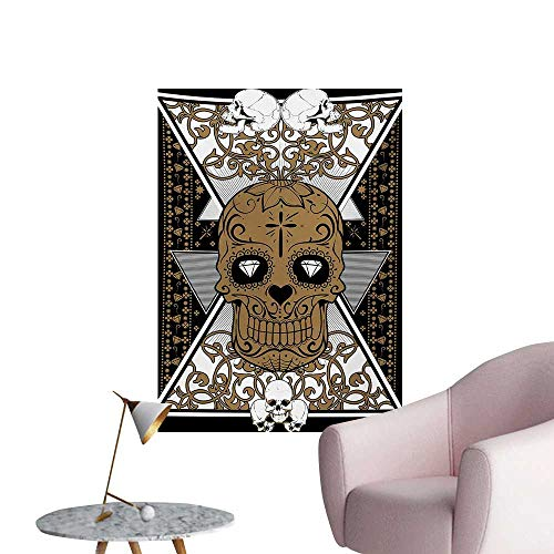 Anzhutwelve Tattoo Photo Wall Paper Skull with Diamond Eyes and Floral Theme Vine Art Tattoo Renaissance InspiredBrown and Black W20 xL28 Space Poster (Abbey Road Vine)