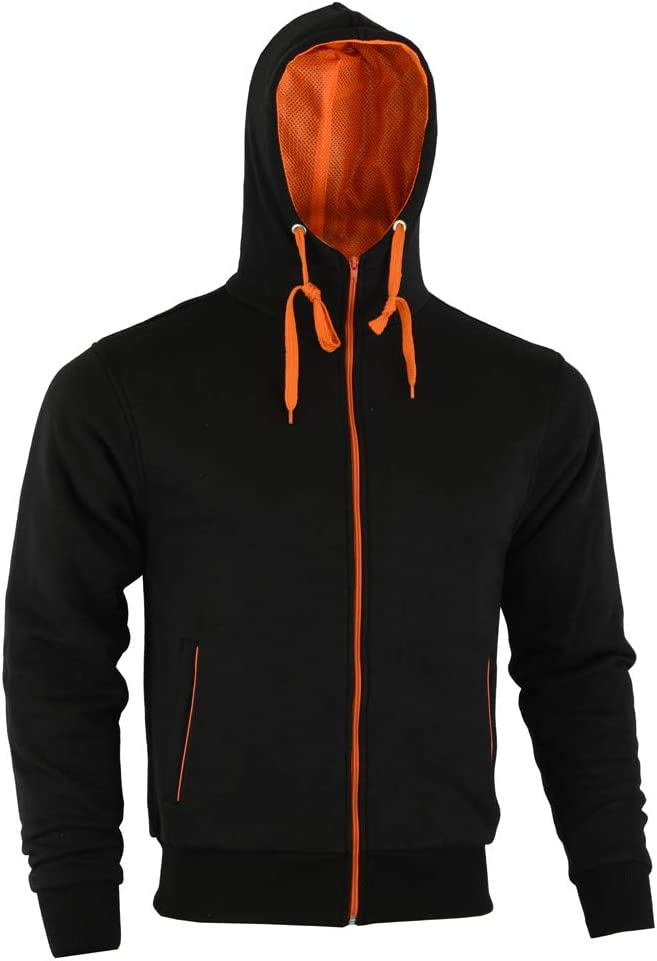 XXXL MENS ORANGE SPEED MAXX FLEECE HOODIE REMOVABLE CE ARMOUR MOTORBIKE MOTORCYCLE JACKET