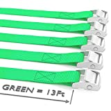 "Long Tie Down Lashing Cam Lock Buckle - Securing Adjustable Cargo Straps For Roof Rack, Kayak, Canoe, 1""x13Foot Up To 600lbs, 5 Pack, Green"
