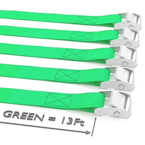 "Long Tie Down Lashing Cam Lock Buckle - Securing Adjustable Cargo Straps For Roof Rack, Kayak, Canoe, 1""x13Foot Up To 600lbs, 5 Pack, Green -"