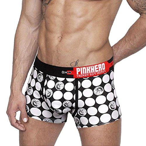 (NEARTIME Men's Underwear, Boxer Briefs Polka Dots Trunk Men Underwears (M, White))