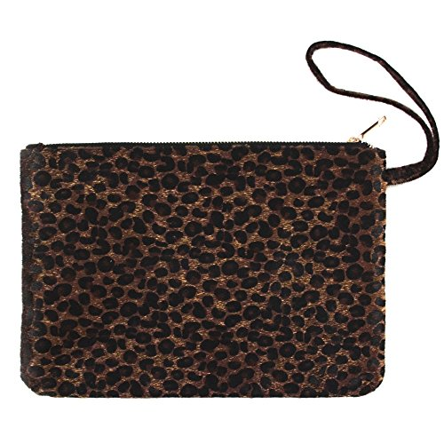 Print Wristlet - Me Plus Women's Clutch Pouch Wristlet Purse Bag Zipper Closure (2 Patterns) (Leopard-Darkbrown)