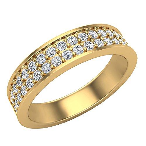 Men's I I1 Diamond Wedding Band 0.75 ctw Two-Row Half Way Men's 14K Yellow Gold 5mm (Ring Size 8.5) ()