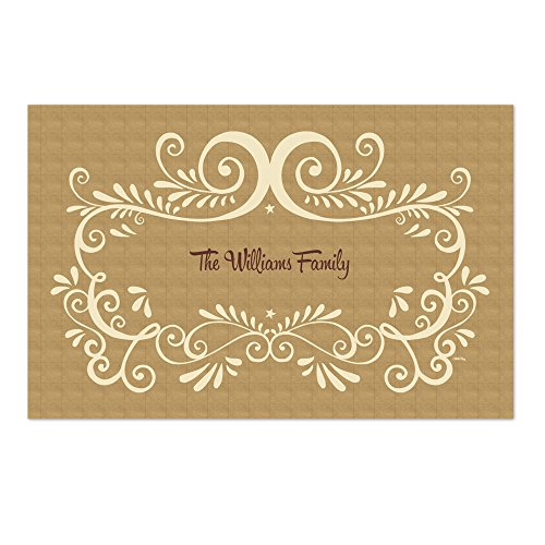 Personalized Paper Placemats - White Frame Kraft Personalized Paper Placemats
