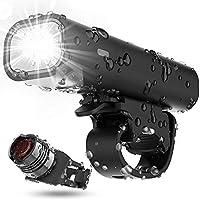 Updated Version Bike Light Set, USB Rechargeable Waterproof Runtime 8+ Hours 400 Lumen Super Bright Headlight Front...