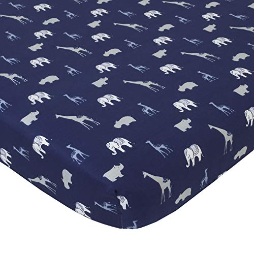 NoJo Serendipity Animal Print 100% Cotton Fitted Crib Sheet, Navy/Light Blue/Grey/Ivory
