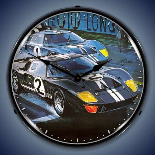Ford GT-40 Race Car Lighted Wall Clock (Awesome Clock Neon)