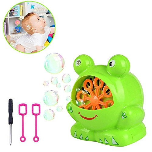 Aolvo [KIDS GIFT] Bubble Machine, Automatic Frog Bubble Machine Bubble Leaf Blower Bubble Maker, Over 500 Bubbles Per Minute with Two Bubble Wands GiftsEasy to Use